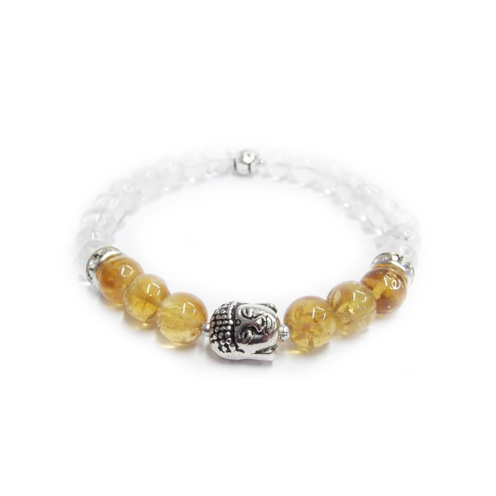Buddha náramek citrín s křišťálem